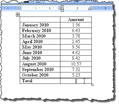 Table for summing in Word 2003
