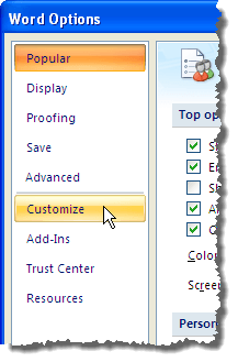 Clicking the Customize option on the Word Options dialog box